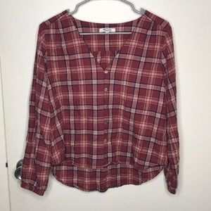 Made well plaid button front blouse size s